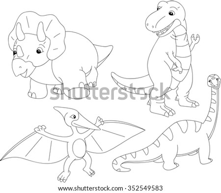 Set of diplodocus, tyrannosaur, pterodactyl and triceratops. Coloring book for kids. illustration
