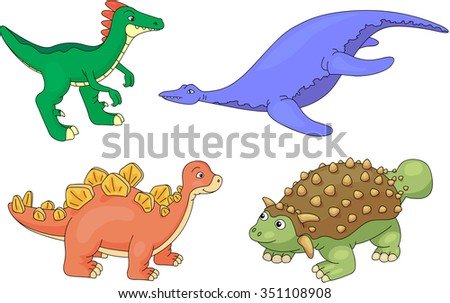 Set of diplodocus, tyrannosaur, pterodactyl and triceratops. illustration