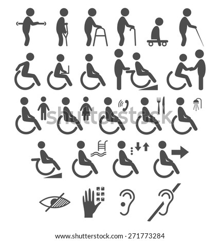 Set of disability people pictograms flat icons isolated on white background - stock photo