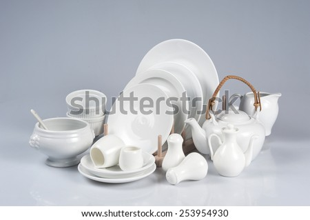 Set of dishes  isolated on white background - stock photo