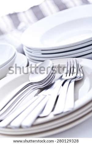 Set of dishes on the table - stock photo