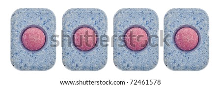Set of Dishwashing Tablets for Use in Dishwasher Machine Isolated on White with a Clipping Path. - stock photo