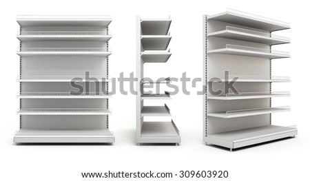 Set of displays with shelves isolated on white background. 3d render image. - stock photo