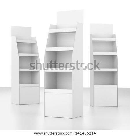 set of displays with shelves  on white. render - stock photo