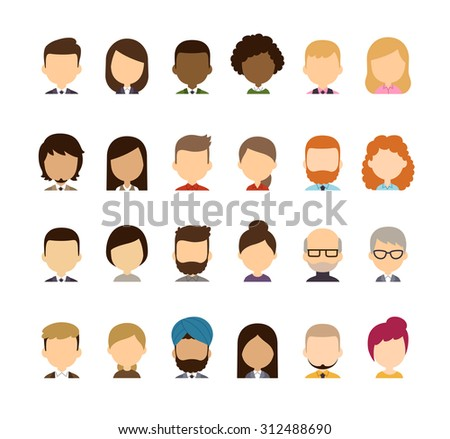 Set of diverse avatars without facial features. Different skin tones, clothes and hair styles. Cute and simple flat cartoon style. - stock photo