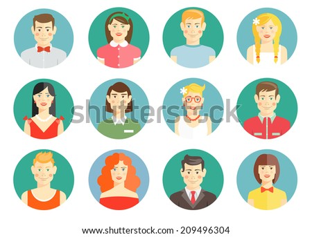 Set of diverse people avatar icons with men and women  girls and boys   professional  smart  casual and sporty on round web buttons for online identity - stock photo