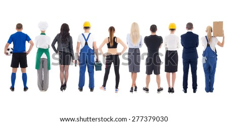 set of diverse people back view isolated on white background - stock photo