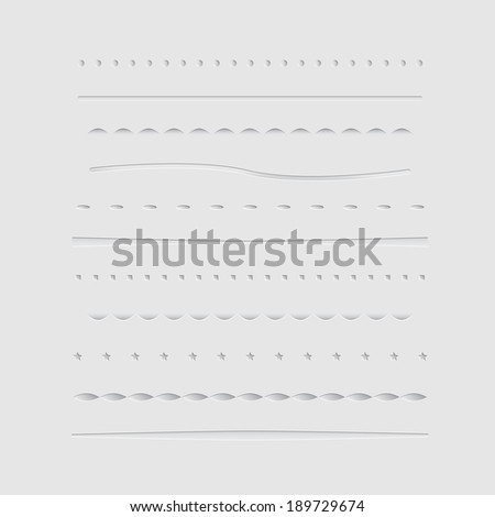 Set of dividers, isolated on gray background - stock photo