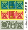 Set of dj equipment including cd player, turntable and mixer in different color themes - stock photo