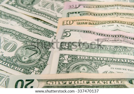 Set of dollar banknotes as background