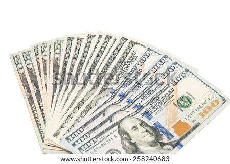 Set of 100 dollar banknotes isolated on white background with clipping path