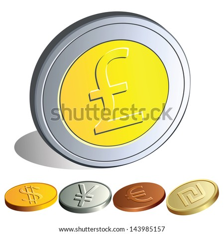 Set of  dollar, lira, pound, euro, shekel coins. Drawing is made directly in the graphical editor