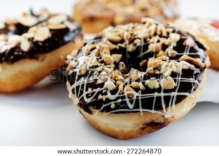 Set of Donuts on white background - stock photo
