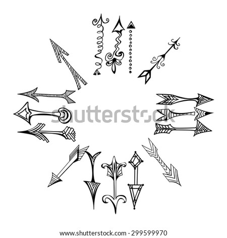 Set of Doodle arrows on a white background arranged in a circle, raster copy of illustration - stock photo