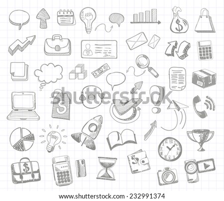 Set of doodle business management infographics elements icons on background in the box. Sketch collection man bubble graph letter badge magnifying glass lightbulb chart arrow bow card. Raster version