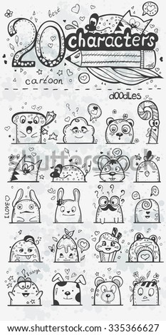 Set of 20 doodle hand-drawn cartoon characters