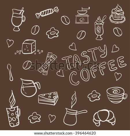 Set of doodles, hand drawn rough simple coffee theme sketches, various kinds of coffee, ingredients and devices for coffee making with tasty cakes and candies