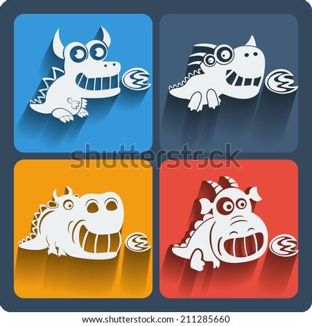 Set of dragon icons. Web and mobile animals icon. Raster copy. - stock photo