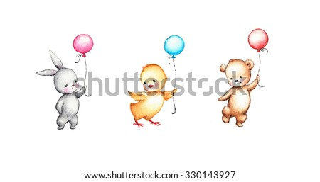 set of drawings of cute animals with balloons