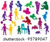 Set of  drawn colored silhouettes of children (kids) and, children play, dance, walk, drink from glass, study to walk, go for a walk with a dog, go for a drive on skateboards - stock vector