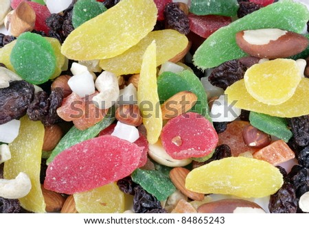 set of dried fruit