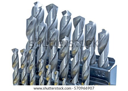 Set of drill bits for metal isolated on white background