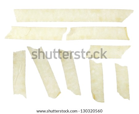 Set of duct tape slices isolated on white - stock photo