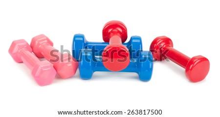 set of dumbbells isolated on white background - stock photo