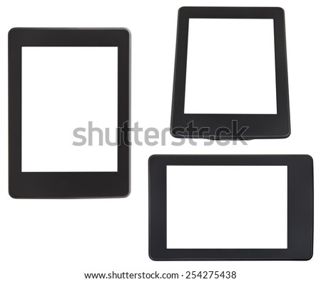 set of e-book reader with cut out screen isolated on white background - stock photo