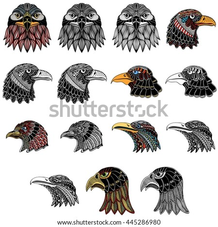 Set of Eagle heads, Art, illustration, freehand pen, hand drawn, pattern.