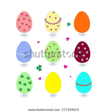 Set of Easter eggs with shadows . Nice nine colorful decorated elements for patterns, cards, decorations, site designs etc.