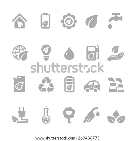 Set of eco energy icons with nuclear  and solar power  electric car  recycling  eco light bulb  maize  biofuel  rechargeable battery  and a green house