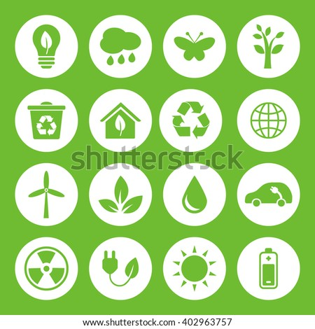 Set of Eco Icons in flat style, green on white basis. Ecology, Nature, Energy, Environment and Recycle Icons. Raster illustration.