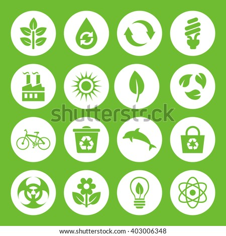 Set of Eco Icons in flat style, green on white basis. Ecology, Nature, Energy, Environment and Recycle Icons. Raster illustration. - stock photo