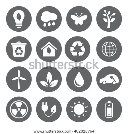 Set of Eco Icons in flat style, white on grey basis. Ecology, Nature, Energy, Environment and Recycle Icons. Raster illustration.