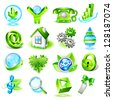 Set of eco icons. Raster version. Vector is also available in my gallery - stock photo