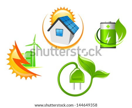 Set of ecological icons for environment design in glossy style or idea of logo. Vector version also available in gallery - stock photo