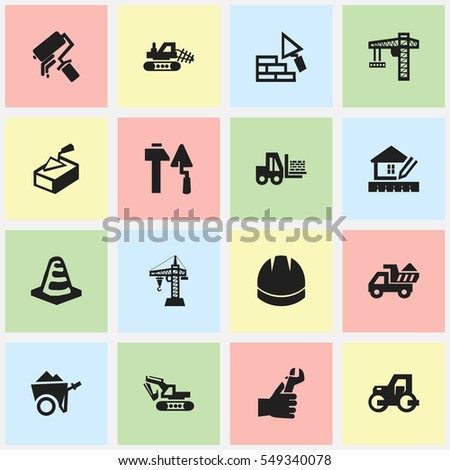 Set Of 16 Editable Building Icons. Includes Symbols Such As Notice Object , Facing, Handcart. Can Be Used For Web, Mobile, UI And Infographic Design.
