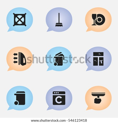 Set Of 9 Editable Cleaning Icons. Includes Symbols Such As Washing Glass, Dustbin, Brush And More. Can Be Used For Web, Mobile, UI And Infographic Design.