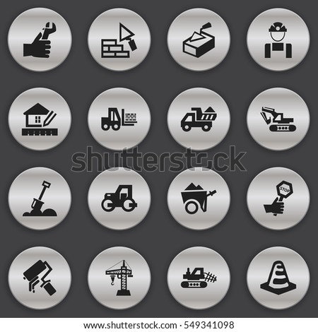 Set Of 16 Editable Construction Icons. Includes Symbols Such As Hands , Spatula , Elevator. Can Be Used For Web, Mobile, UI And Infographic Design.