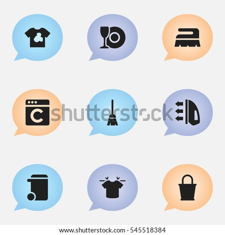 Set Of 9 Editable Dry-Cleaning Icons. Includes Symbols Such As Steam, Plate, Laundress And More. Can Be Used For Web, Mobile, UI And Infographic Design.