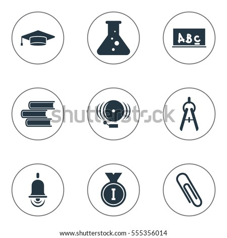 Set Of 9 Editable Graduation Icons. Includes Symbols Such As Chemistry, Ring, School Board And More. Can Be Used For Web, Mobile, UI And Infographic Design.