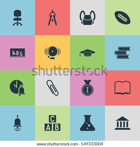 Set Of 16 Editable Graduation Icons. Includes Symbols Such As Ring, School Bell, Alarm Bell And More. Can Be Used For Web, Mobile, UI And Infographic Design.