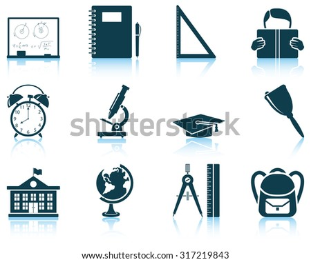 Set of education icon. Raster illustration.
