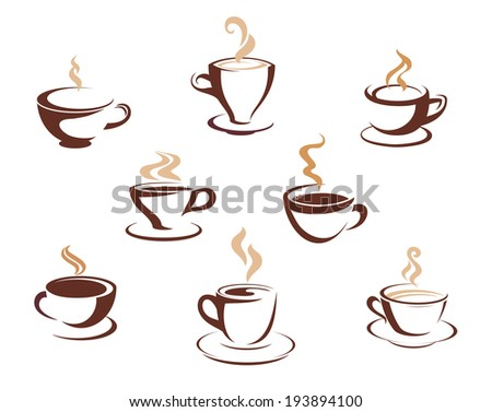 Set of eight different steaming cups of hot beverages such a coffee, tea or hot chocolate in cups and mugs for logo. Vector version also available in gallery - stock photo