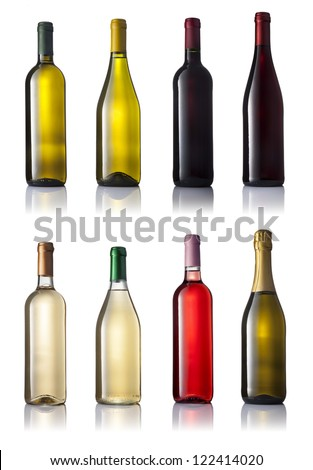 Set of eight different wine bottles on a white background with reflection isolated. - stock photo