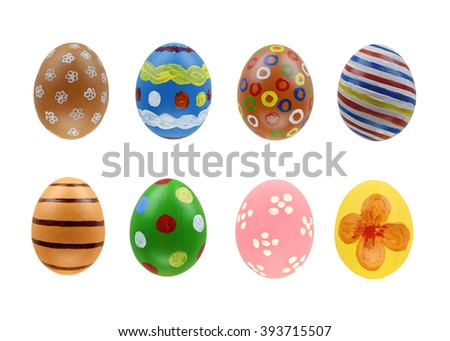 Set of eight easter eggs isolated on white background.