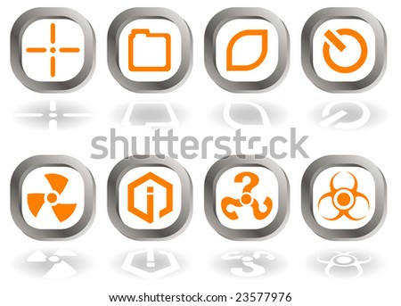 Set of eight icons in orange and gray isolated on white