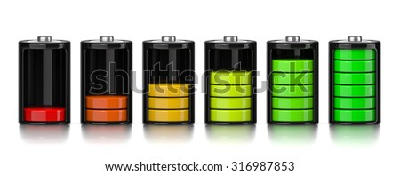 Set of Electric Battery Charge Level Chart Isolated on White Background 3D Illustration