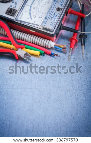 Set of electrical articles close up view construction concept. - stock photo